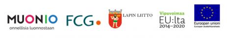 Työpajan järjestäorganisaatioiden logot: Muonion kunta, FCG, Lapin Liitto, EU-lippulogo.