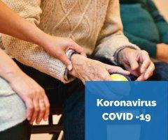 Koronavirus logo ja kuva vanhuksista.