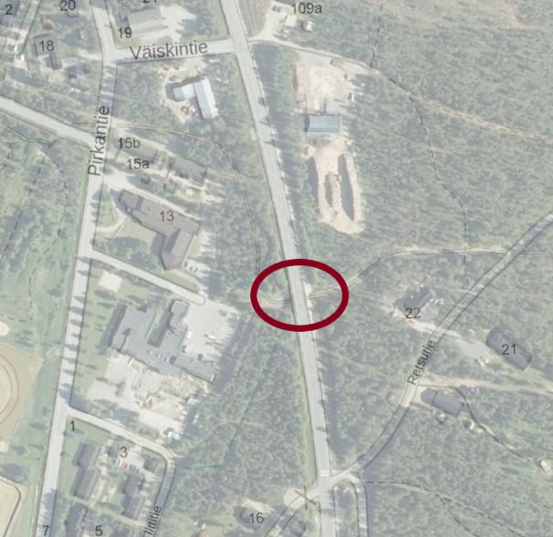 Kartta kaivuutyöpaikasta Ratsutien ja Pirkantien välissä, Kilpisjärventien alikulussa.